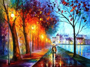 City by The lake Leonid Afremov
